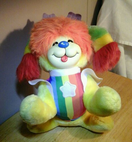 1983 Hallmark Plush RAINBOW BRITE PUPPY Colorful Vintage Stuffed Animal Toy DOG