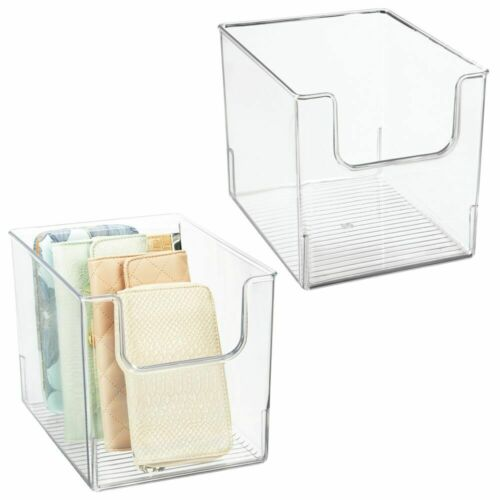 Clear mDesign Plastic Closet Home Storage Organizer Cube Bin Container 2 Pack