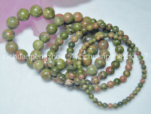 Natural-4-12mm-Multi-colored-Unakite-Round-Gems-Beads-Elasticity-Bracelet-7-5-039-039
