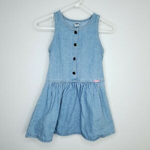 Vintage OshKosh Bgosh Blue Jean Dress Girls 6 Sleeveless Denim Jumper Country