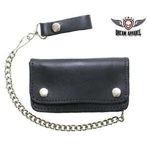Men-039-s-Heavy-Duty-Black-Leather-Motorcycle-Chain-Wallet