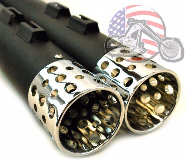 "Black Chrome Shooter Tip 3.5"" Exhaust Slip On Mufflers Exhaust Harley Touring"