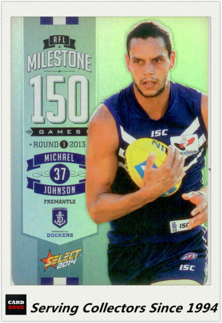 2014 AFL Champions Milestone Holofoil Card MG27 Michael Johnson (Fremantle)