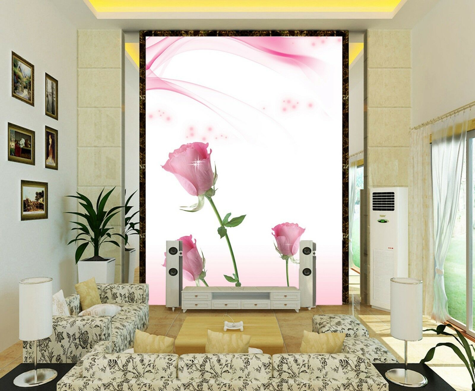 3D Pink pink Wall Paper Print Decal Wall Deco Indoor Mural