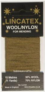 30/% laine 70/% nylon 10 mètres Kaki Thread pour à repriser /& réparation lincatex