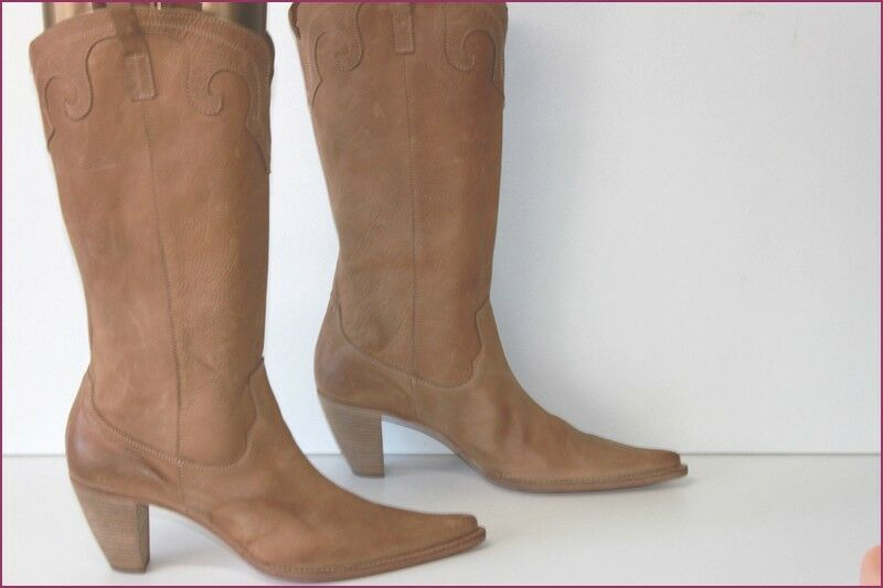 San Crispino Boots Pointed Leather Natural Hide Flexible T 41 Top Condition