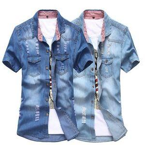 Camisas-Para-Hombre-de-Algodon-Denim-Informal-Mangas-Cortas-Calce-Ajustado-Para-Hombres-Jeans-Tops