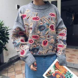 Strikket Broderet Women's Pullover Sweater Floral 8635 Vintage Ladies Cardigan qzOvwOXPx