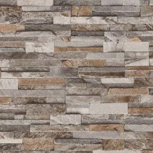 Brick Effect Wallpaper 3d Slate Stone Wall Textured Vinyl Brown Grey
