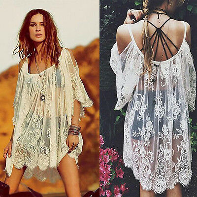 Vintage Hippie Boho Embroidered Floral Lace Crochet Off Should Mini Dress Thrift