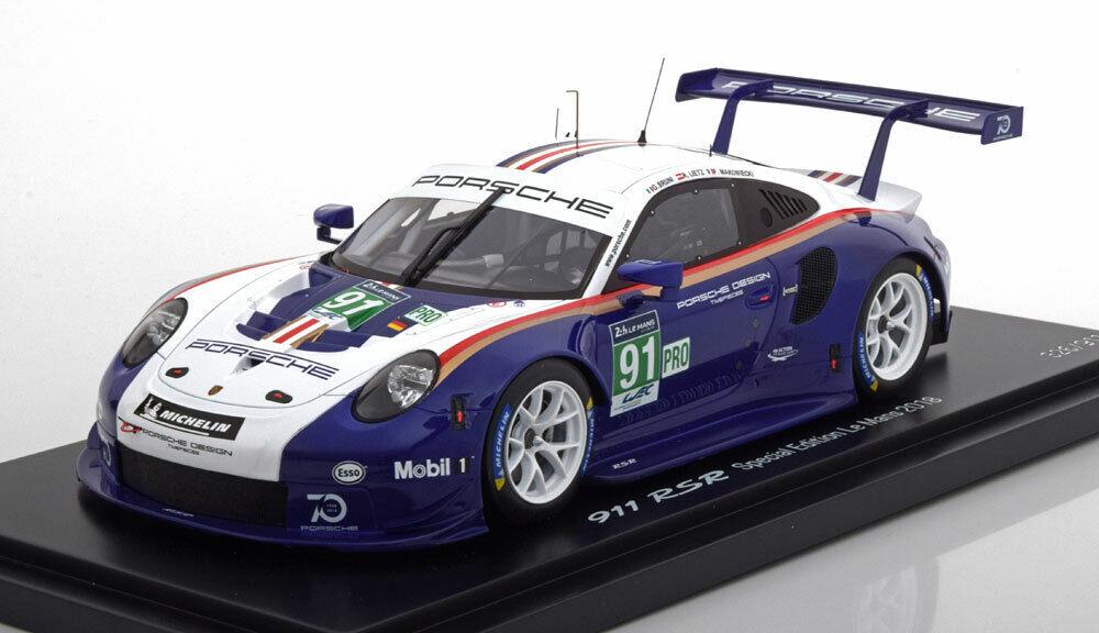 1 18 Spark 911 RSR 991 24h de Le Mans 2018 WEC rojohmans librea 70th aniversario.