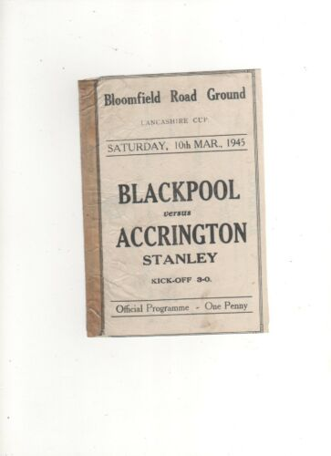 194445 BLACKPOOL v ACCRINGTON STANLEY 10th March 1945 Lancashire CupDiv3 NWRL