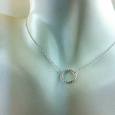 925 Sterling Silver Karma Beaded Circle Necklace 6 Inch to 20 Inch