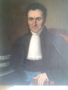 Importé De L'éTranger Huile Sur Toile Portrait D'ancetre Magistrat, Notable, Xixe Restauré & Rentoilé