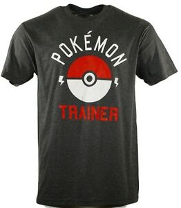 Pokemon-Trainer-Men-039-s-T-Shirt-Gray-Poke-Ball-Adult-Anime-Short-Sleeve-S-M-L-2XL