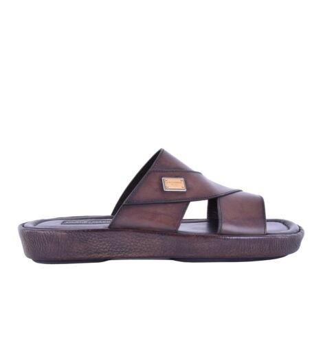 DOLCE /& GABBANA Patent Leather Sandals MEDITERRANEO with Logo Brown Shoes 05218
