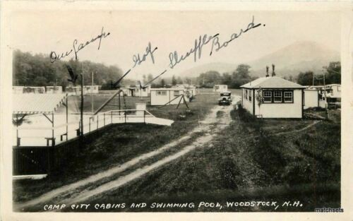 1920s Camp City Cabins Swimming Pool Woodstock New Hampshire RPPC 6812