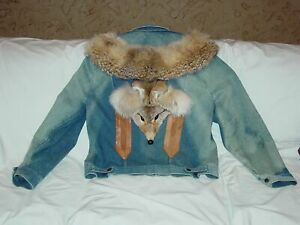Womens-Unique-Coyote-Distressed-Boho-Denim-Fur-Leather-Western-Festival-Jacket-L