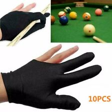 Black Elastic Snooker Billiard Pool Cue Three Finger Gloves 2 Pairs