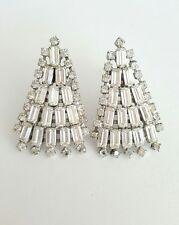 Vintage Long Rhinestone Baguette Earrings Clip On Fanned Deco Design Silvertone