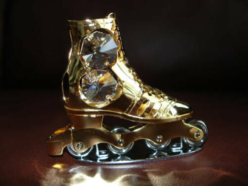 ROLLER SKATE~24K GOLD PLATED FIGURINE WITH BEST~*~AUSTRIAN CRYSTALS~*