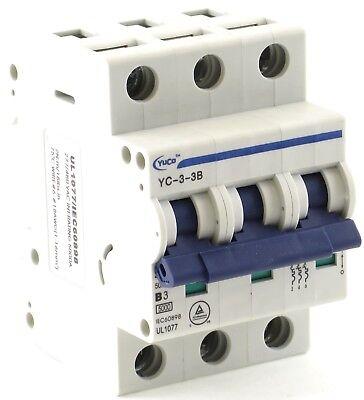 YuCo YC-10-3C Miniature Din Rail Circuit Breaker C Curve 10 Amp 3P 480VAC 220VDC