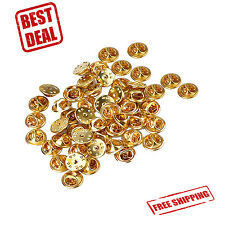 50 Pack Brass Golden Pin Backs Holder Clutch Badge Lapel Pin Tie Tacks Jewelry