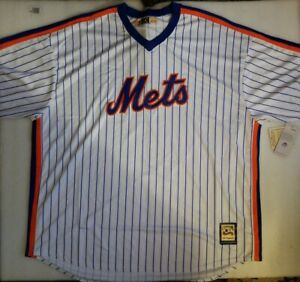NWT-New-York-Mets-Cooperstown-Collection-White-Pinstripe-Majestic-Jersey-Men-5XT