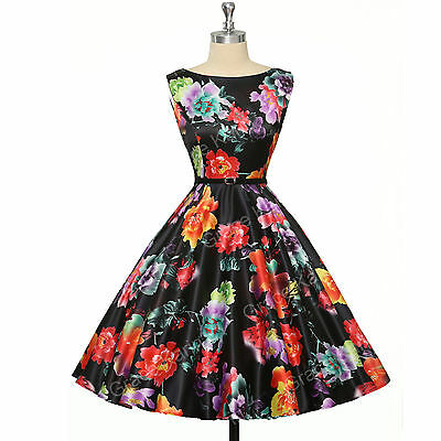 Vintage Style 50s 60s Pinup Housewife Swing Evening Tea Length Dress