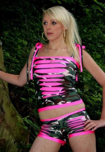 Funki-B bling slashed cyber shorts boobtube vest top lots of colours dance