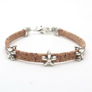 Made in Portugal Natural cork w//heart beads bracelet with color splashes
