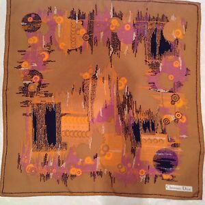 CHRISTIAN DIOR authentique foulard 100% soie en TBEG vintage 77 X 77 ... 1c407292b8ae
