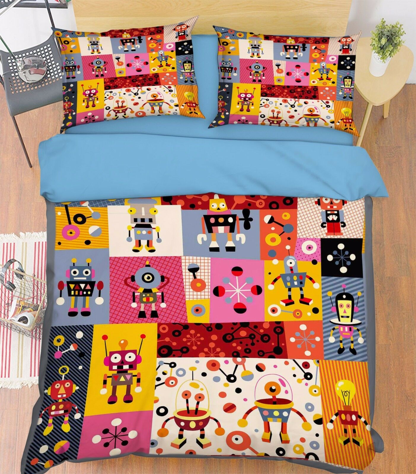 ROBOT 3d 513 Federe Letto steppe duvet set soffitto Single de sunmmer