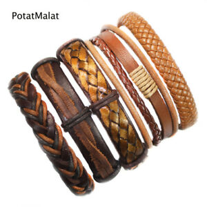 5Pcs-Vintage-Leather-Bracelets-For-Women-Brown-Leather-Bracelet-amp-Bangle-Male-F19
