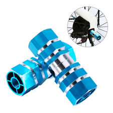 Blue 2PC Hollow Core Hex Frame Small Composite Metal Alloy Bike Foot Pegs