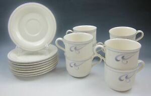 Lot-of-8-Lenox-GREY-BRUSHSTROKES-Cup-and-Saucer-Set-s-MULTIPLE-LOTS-EXCELLENT