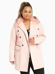 49e73130606 Torrid Blush Pink Faux Fur Collar w  Military Buttons Wool Midi Coat ...