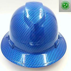 Full Brim Hard Hat Custom Hydro Dipped Carbon Fiber Candy Blue Ebay