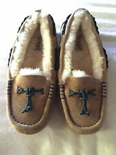 NEW UGG Australia Brett Moccasin Slippers, Chestnut Suede, Women Size 5, $120