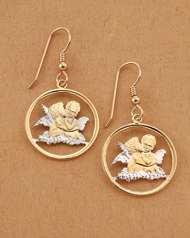 Guardian Angel Earrings, Hand Cut Guardian Angel Coins, 3 4  in Dia. ( E )