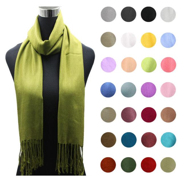 Fashion Women/'s Acrylic Linen Solid Long Pashmina Shawl Wrap Scarf cashmere