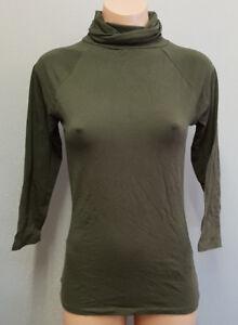 BNWT-Womens-Sz-L-12-Smart-Zara-Brand-Khaki-3-4-Sleeve-Roll-Neck-Stretch-Top
