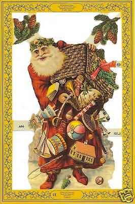 VICTORIAN SANTA Paper Die Cut Embossed Scrap England Decoupage Mix Media Card