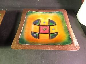 "Enamel over Copper Decorative 8"" Square Bowl"