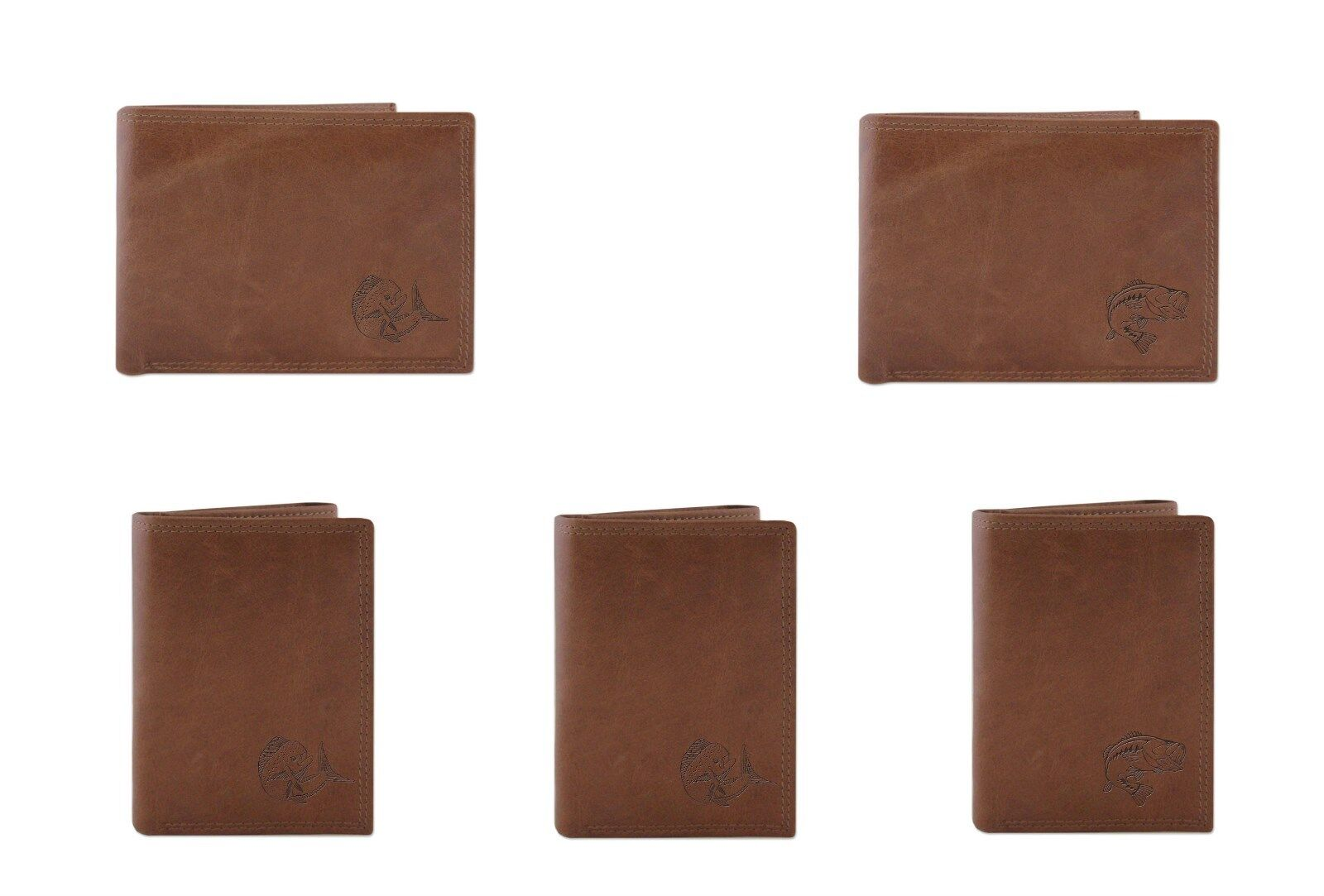ZEP-PRO Leather Embossed MAHI DOLPHIN MARLIN BASS Wallet Bifold or Trifold
