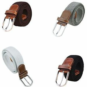 New-Mens-Leather-Braided-Elastic-Stretch-Cross-Buckle-Casual-Golf-Belt
