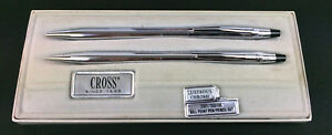 Cross-Chrome-Set-Pen-amp-Mechanical-Pencil-Advertising-inscribed-034-Bethany-Homes-034