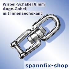 Wirbel-Schäkel 8 mm Auge-Gabel A4 Edelstahl V4A Wirbelschäkel Schäkel Ankerkette