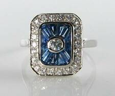 CLASS 9K 9CT WHITE GOLD BLUE SAPPHIRE DIAMOND ART DECO INS RING FREE RESIZE