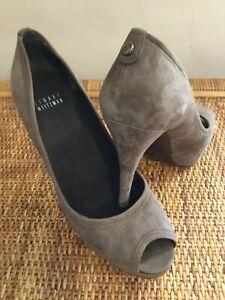 Stuart-Weitzman-Brown-Taupe-Suede-Platform-Size-9-Peep-Toe-Heels-Pumps